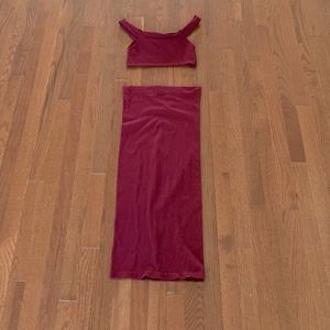 Wine Color Cropped Tank Skirt Set  Free People M